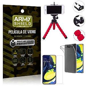 Kit Mini Tripé Samsung A80 Mini Tripé + Película Vidro + Capa Silicone - Armyshield