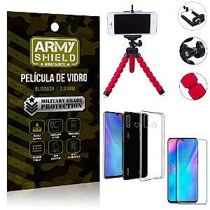 Kit Mini Tripé Huawei P30 Lite Mini Tripé + Película Vidro + Capa Silicone - Armyshield
