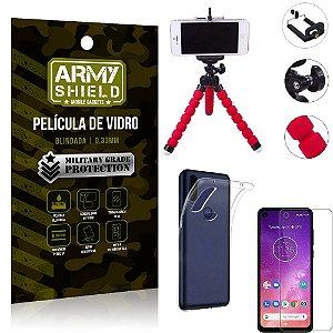 Kit Mini Tripé Motorola One Vision Mini Tripé + Película Vidro + Capa Silicone - Armyshield