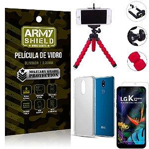 Kit Mini Tripé LG K12 Max Mini Tripé + Película Vidro + Capa Silicone - Armyshield