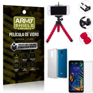 Kit Mini Tripé LG K12 K12 Plus Mini Tripé + Película Vidro + Capa Silicone - Armyshield