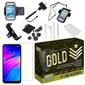 Kit Gold Xiaomi Redmi 7 com 8 Acessórios - Armyshield