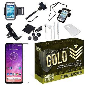 Kit Gold Motorola One Vision com 8 Acessórios - Armyshield
