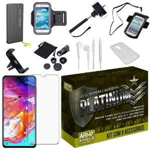 Kit Platinum Tipo C Samsung A70 com 9 Acessórios - Armyshield