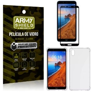 Kit Full Protection Xiaomi Redmi 7A Película de Vidro 3D + Capa Anti Impacto - Armyshield