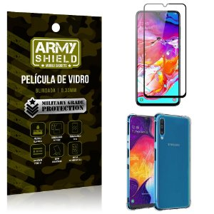 Kit Full Protection Samsung A70 Película de Vidro 3D + Capa Anti Impacto - Armyshield