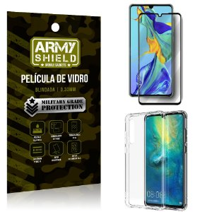 Kit Full Protection Huawei P30 Película de Vidro 3D + Capa Anti Impacto - Armyshield