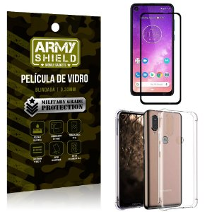 Kit Full Protection Motorola One Vision Película de Vidro 3D + Capa Anti Impacto - Armyshield