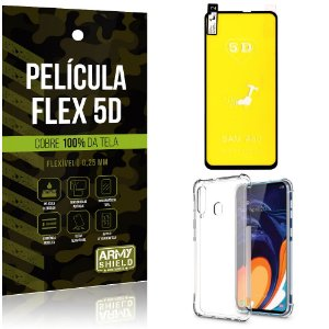 Kit Flex Protection Samsung A60 Película Flex 5D Tela Toda + Capa Anti Impacto - Armyshield