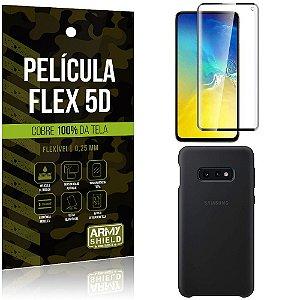 Capa Case Silicone Samsung S10e Lite Preta + Película Flex 5D Cola na Tela Toda - Armyshield