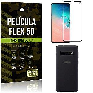 Capa Case Silicone Samsung S10 Preta + Película Flex 5D Cola na Tela Toda - Armyshield