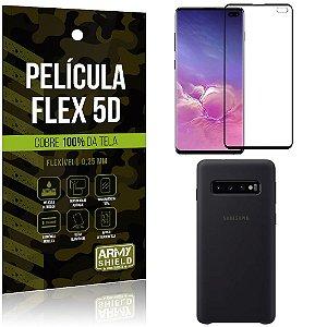 Capa Case Silicone Samsung S10 Plus Preta + Película Flex 5D Cola na Tela Toda - Armyshield