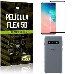 Capa Case Silicone Samsung S10 Cinza + Película Flex 5D Cola na Tela Toda - Armyshield