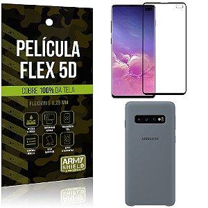 Capa Case Silicone Samsung S10 Plus Cinza + Película Flex 5D Cola na Tela Toda - Armyshield