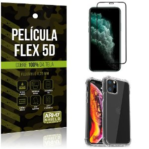 Capa Anti Impacto iPhone 11 pro Max 6.5 + Película Flex 5D Cobre toda tela - Armyshield
