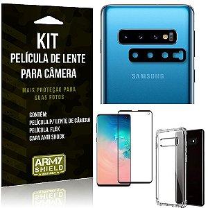 Kit Película de Lente Galaxy S10 + Capa Anti Shock + Película Flex Premium - Armyshield