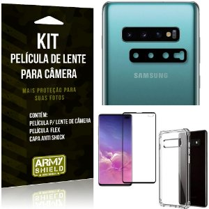 Kit Película de Lente Galaxy S10 Plus + Capa Anti Shock + Película Flex - Armyshield