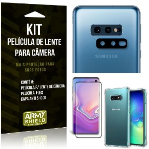 Kit Película de Lente Galaxy S10e + Capa Anti Shock + Película Flex - Armyshield