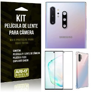 Kit Película de Lente Galaxy Note 10 Plus + Capa Anti Shock + Película Flex - Armyshield