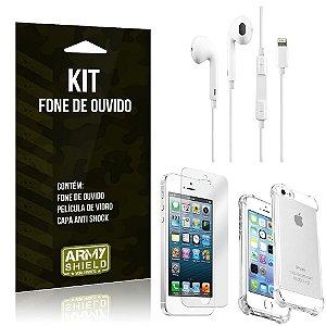 Kit Fone de Ouvido Lightning para Iphon 5/5S + Capa Anti Shock + Película de Vidro - Armyshield