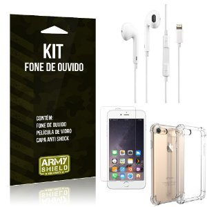 Kit Fone de Ouvido Lightning Iphon 6 Plus/6S Plus + Capa Anti Shock + Película Vidro - Armyshield