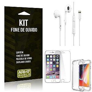 Kit Fone de Ouvido Lightning para Iphon 7 + Capa Anti Shock + Película de Vidro - Armyshield