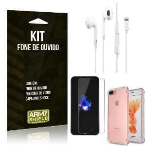 Kit Fone de Ouvido Lightning para Iphon 7 Plus + Capa Anti Shock + Película de Vidro - Armyshield
