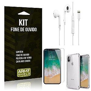 Kit Fone de Ouvido Lightning para Iphon X + Capa Anti Shock + Película de Vidro - Armyshield