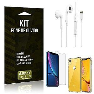 Kit Fone de Ouvido Lightning para Iphon XR + Capa Anti Shock + Película de Vidro - Armyshield