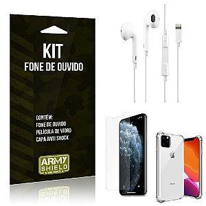 Kit Fone de Ouvido Lightning para Iphon 11 Pro Max + Capa Anti Shock + Película Vidro - Armyshield