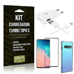 Kit Carregador Turbo C Samsung S10 + Película cobre a Tela Toda + Capa Antishock - Armyshield