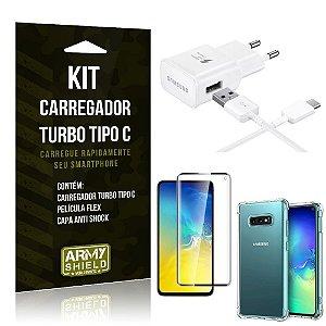 Kit Carregador Turbo C Samsung S10e + Película cobre a Tela Toda + Capa Antishock - Armyshield