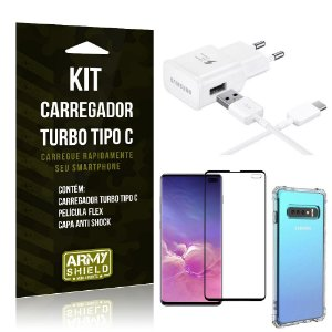 Kit Carregador Turbo C Samsung S10 Plus + Película cobre a Tela Toda + Capa Antishock - Armyshield