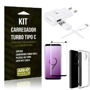 Kit Carregador Turbo C Samsung S9 + Película cobre a Tela Toda + Capa Antishock - Armyshield