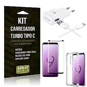 Kit Carregador Turbo C Samsung S9 Plus + Película cobre a Tela Toda + Capa Antishock - Armyshield