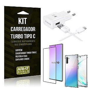 Kit Carregador Turbo C Samsung Note 10 + Película cobre a Tela Toda + Capa Antishock - Armyshield