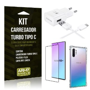 Kit Carregador Turbo C Samsung Note 10 Plus + Película cobre Tela Toda + Capa Antishock - Armyshield