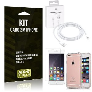 Kit Cabo 2m para Iphon 6/6S + Capa Anti Shock + Película de Vidro - Armyshield