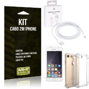 Kit Cabo 2m para Iphon 6 Plus/6S Plus + Capa Anti Shock + Película de Vidro - Armyshield