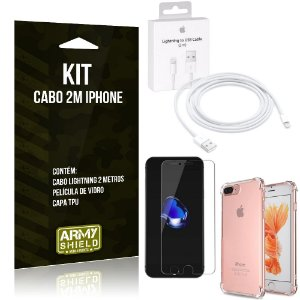 Kit Cabo 2m para Iphon 7 Plus + Capa Anti Shock + Película de Vidro - Armyshield