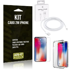 Kit Cabo 2m para Iphon XS + Capa Anti Shock + Película de Vidro - Armyshield