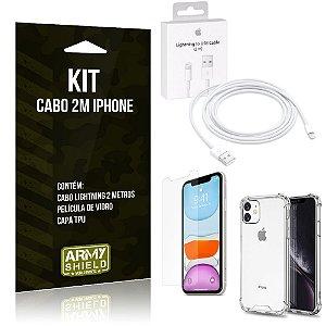 Kit Cabo 2m para Iphon 11 + Capa Anti Shock + Película de Vidro - Armyshield