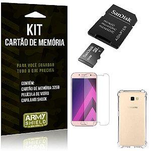 Kit Galaxy A3 (2017) Cartão Memória 32 GB + Capinha Antishock + Película Vidro - Armyshield