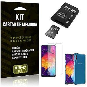 Kit Galaxy A50 Cartão Memória 32 GB + Capinha Antishock + Película Vidro - Armyshield