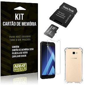Kit Galaxy A5 (2017) Cartão Memória 32 GB + Capinha Antishock + Película Vidro - Armyshield
