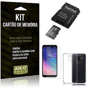 Kit Galaxy A6 Cartão Memória 32 GB + Capinha Antishock + Película Vidro - Armyshield