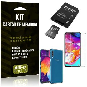 Kit Galaxy A70 Cartão Memória 32 GB + Capinha Antishock + Película Vidro - Armyshield