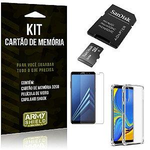 Kit Galaxy A7 (2018) Cartão Memória 32 GB + Capinha Antishock + Película Vidro - Armyshield