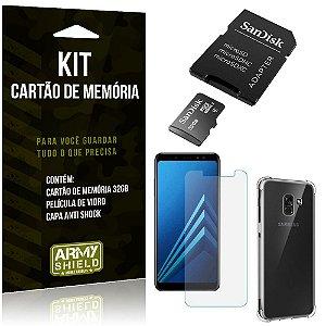 Kit Galaxy A8 Cartão Memória 32 GB + Capinha Antishock + Película Vidro - Armyshield