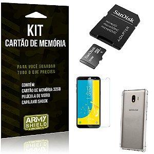 Kit Galaxy J4 (2018) Cartão Memória 32 GB + Capinha Antishock + Película Vidro - Armyshield